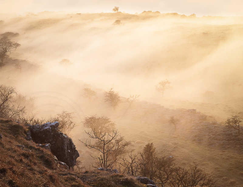 """""""rolling mist backlit by sunset over valley at Holme Park Fell, Cumbria"""""""